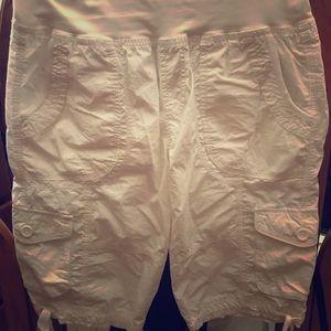 Calvin Klein White cargo shorts with ties